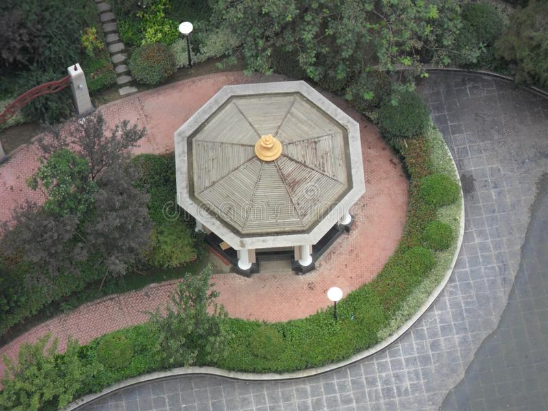Octagonal pavilion. An octagonal pavilion in the Yin and Yang eight diagrams royalty free stock photos