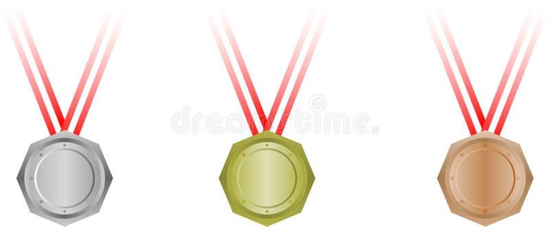 octagonal set tre för medaljer vektor illustrationer
