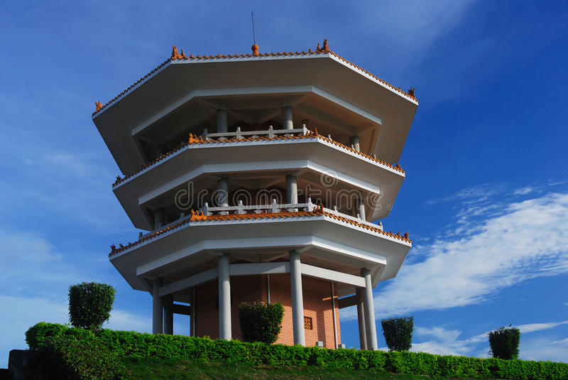 Octagonal tower. China's three-story octagonal tower construction stock image