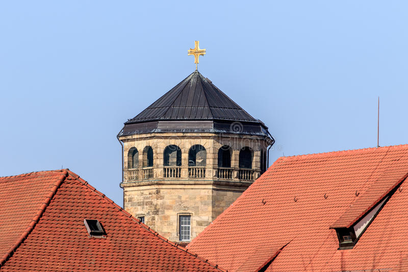 Octagonal tower. View over the roofs of the old town of Bayreuth (Germany, Bavaria, upper franconia) with the octagonal tower of the Castle Church (Schloß stock image