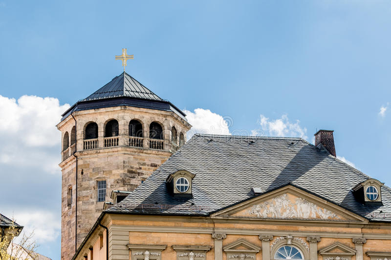 Octagonal tower. View over the roofs of the old town of Bayreuth (Germany, Bavaria, upper franconia) with the octagonal tower of the Castle Church (Schloß stock images