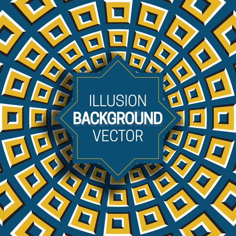 Octagramkader op gele blauwe optische illusieachtergrond van het bewegen van vierkante vormen vector illustratie