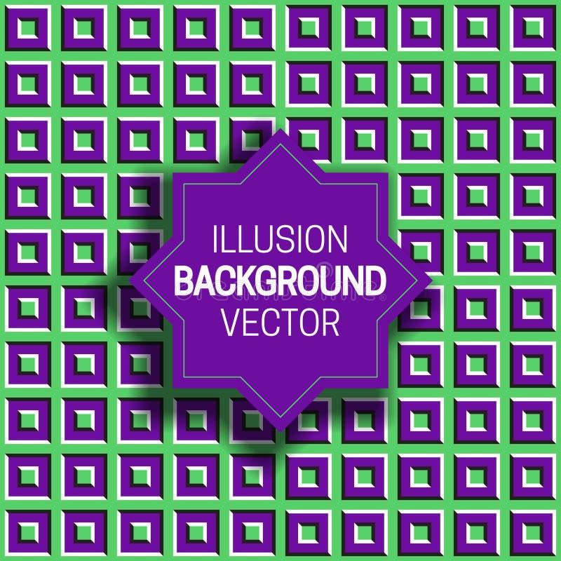 Octagramkader op groene purpere optische illusieachtergrond van het bewegen van vierkante vormen royalty-vrije illustratie