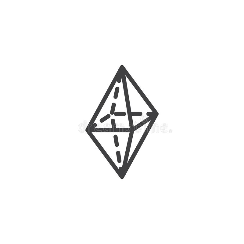 Octahedron geometrical figure outline icon. Linear style sign for mobile concept and web design. Triangle octahedron geometric shape simple line vector icon royalty free illustration