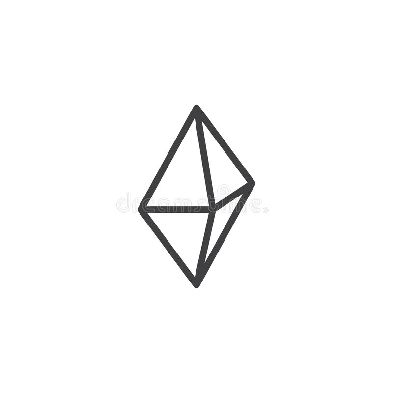 Octahedron geometrical figure outline icon. Linear style sign for mobile concept and web design. Triangle octahedron geometric shape simple line vector icon vector illustration