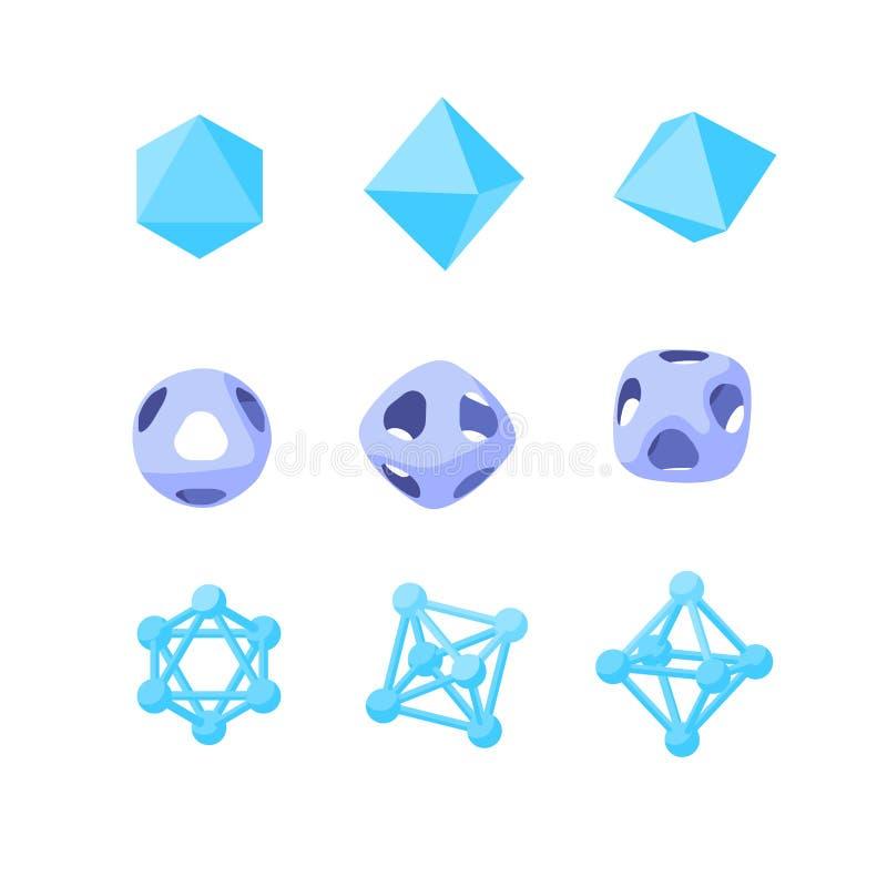Octahedrons Abstrakta geometriska vektorformer vektor illustrationer