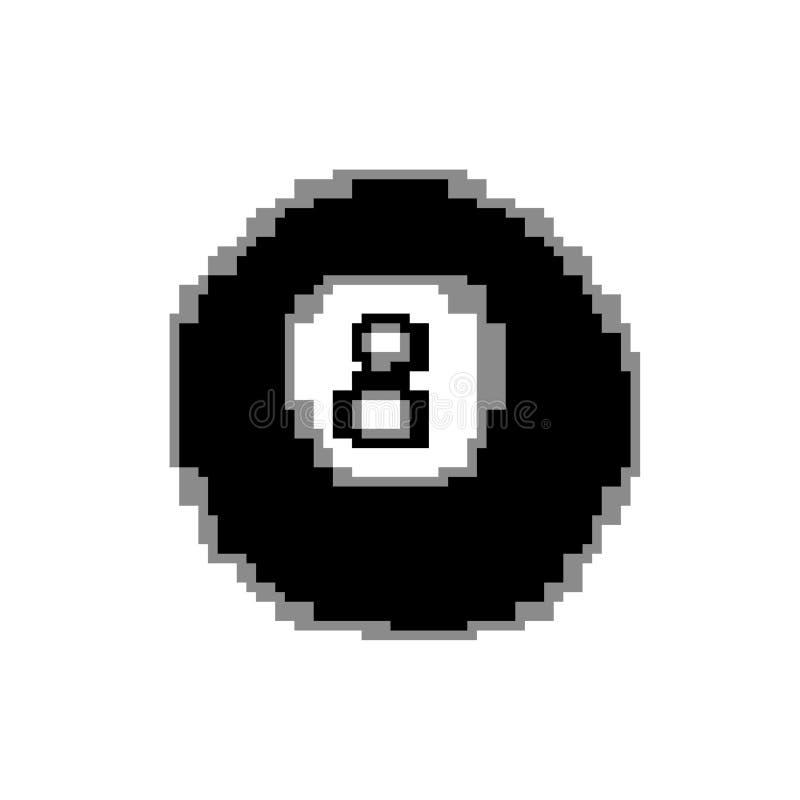 Octava bola de billar, ejemplo del arte del pixel stock de ilustración