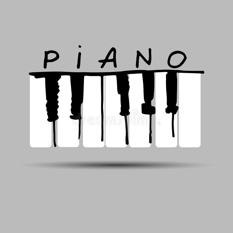 Octava musical del sonido del teclado del instrumento de la llave del ejemplo del vector de la música del piano stock de ilustración
