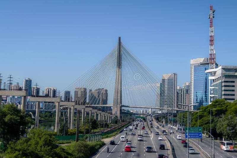 Octavio Frias Bridge or Ponte Estaiada - Sao Paulo, Brazil royalty free stock photography