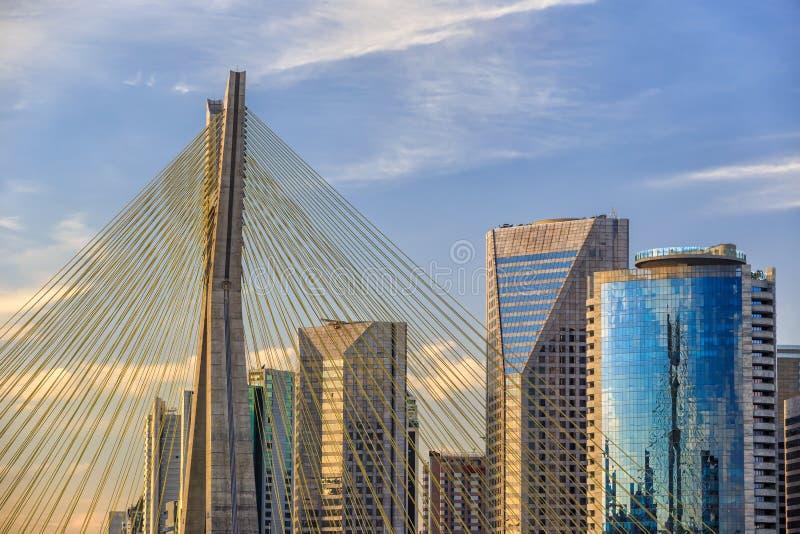 Octavio Frias de Oliveira Bridge in Sao Paulo stock images