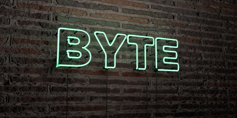 OCTET - enseigne au néon réaliste sur le fond de mur de briques - image courante gratuite de redevance rendue par 3D illustration de vecteur