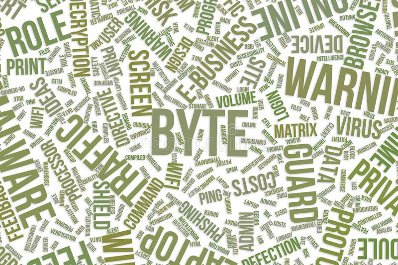 Octet, nuage conceptuel de mot pour des affaires, technologie de l'information ou service informatique illustration stock