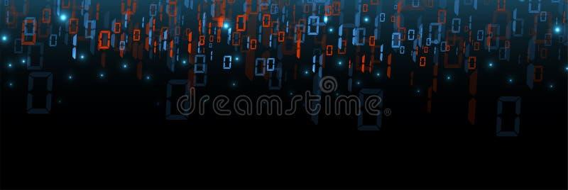 Octets de course de code binaire par le réseau Syberspace futuriste abstrait de technologie illustration de vecteur