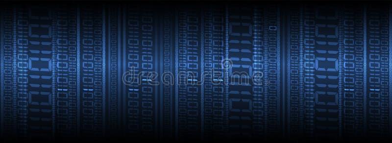 Octets de course de code binaire par le réseau Syberspace futuriste abstrait de technologie illustration libre de droits