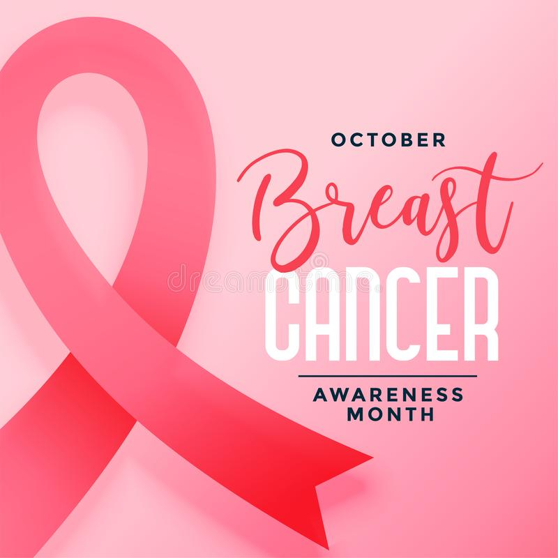 October awareness month of breast cancer poster design. Vector stock illustration