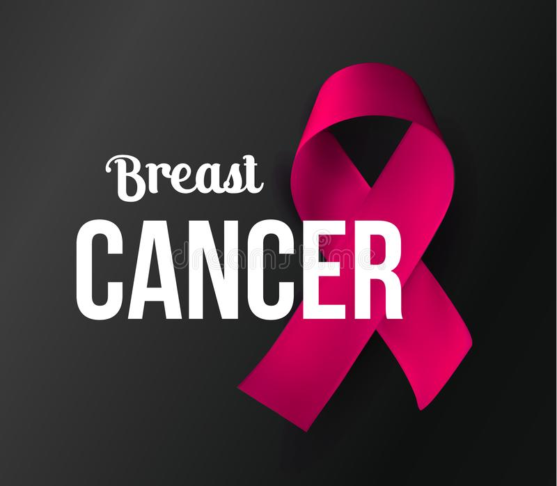 October awareness month symbol. Breast Cancer baner. Pink ribbon with white text on black background. Vector. Illustration stock illustration