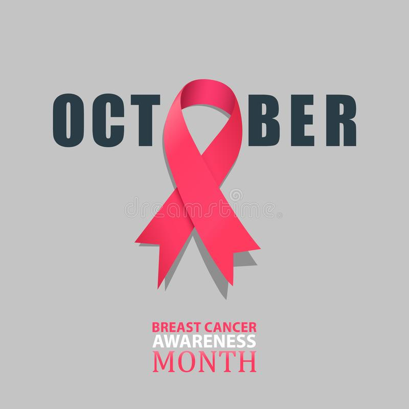 October - Breast cancer awareness month with pink satin ribbon illustration royalty free illustration