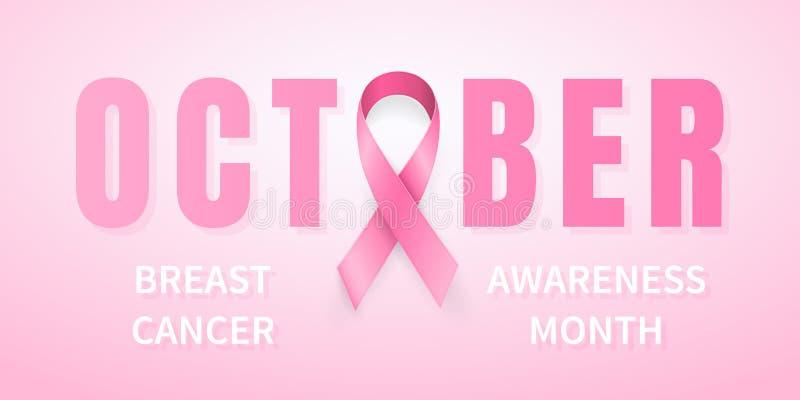 October breast cancer awareness month in. Realistic pink ribbon symbol. Medical Design. Vector illustration vector illustration