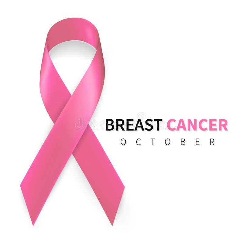 October breast cancer awareness month in. Realistic pink ribbon symbol. Medical Design. Vector illustration.  royalty free illustration