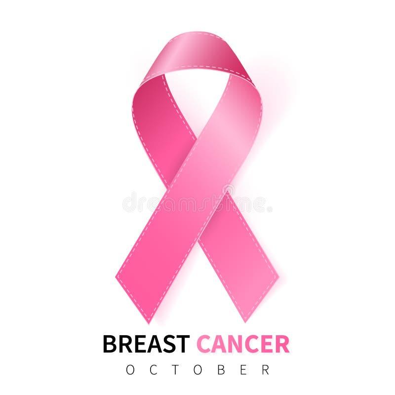 October breast cancer awareness month in. Realistic pink ribbon symbol. Medical Design. Vector illustration stock illustration