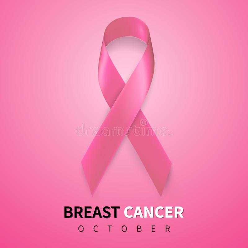 October breast cancer awareness month in. Realistic pink ribbon symbol. Medical Design. Vector illustration.  vector illustration
