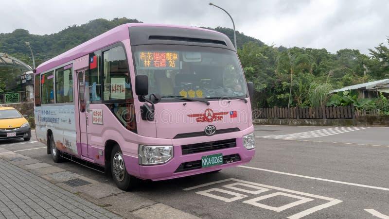 October 19, 2018: bus station at front yehliu park: Taipei, Taiwan stock photos