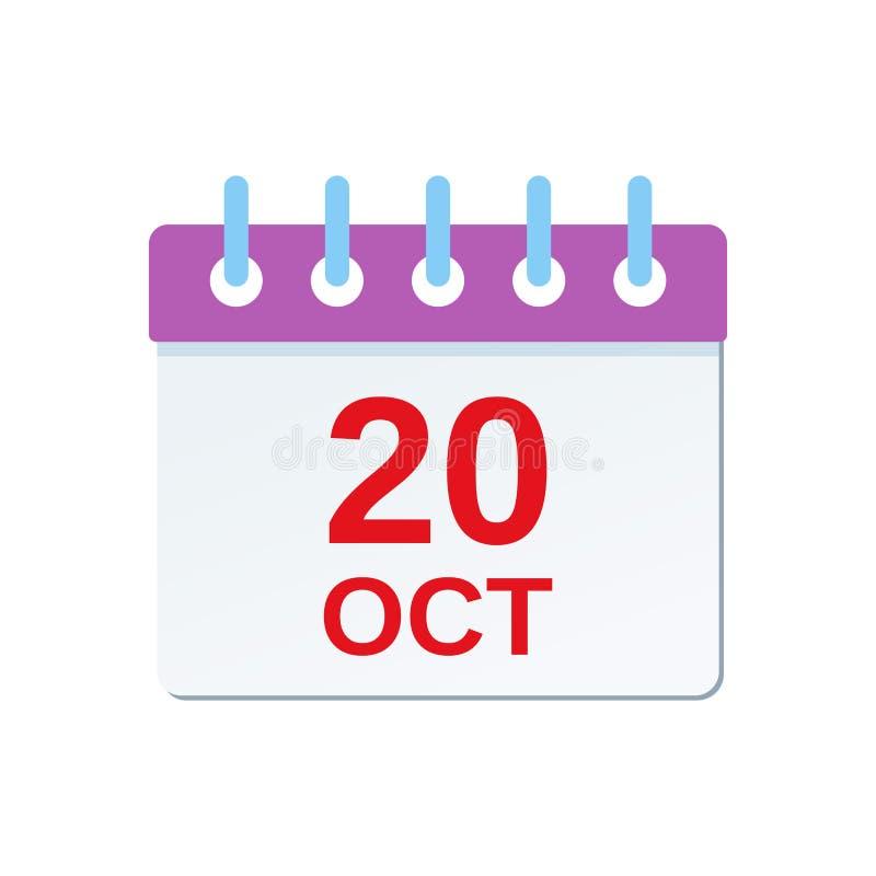20 October calendar icon. International Chef Day. Vector illustration vector illustration