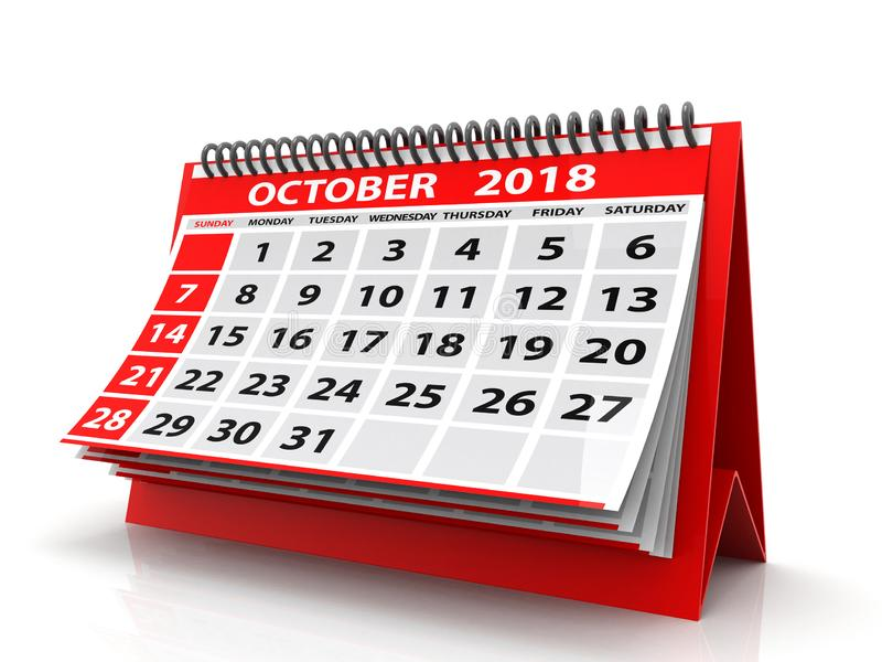 October 2018 Calendar. Isolated on White Background. 3d render stock image