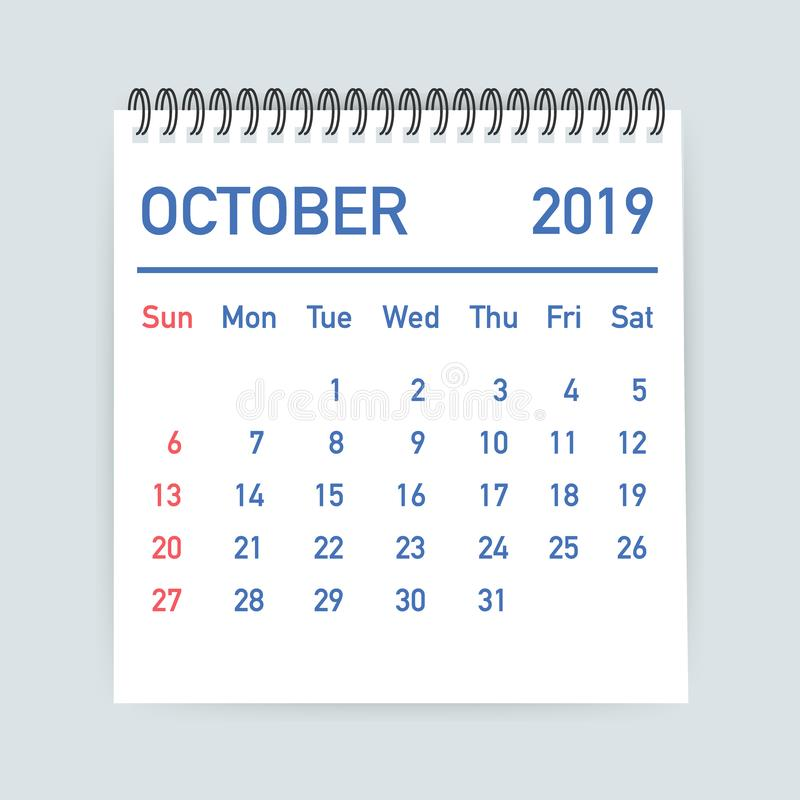 October 2019 Calendar Leaf. Calendar 2019 in flat style. A5 size. Vector illustration. royalty free illustration