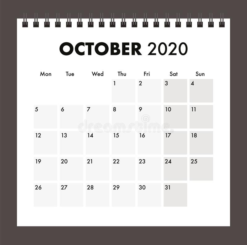October 2020 calendar with wire band royalty free stock images