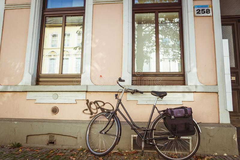 October 21, 2018. City Krefeld Germany. Urban one bike parked without anyone on a sunny day in the fall on a European street.  royalty free stock photos