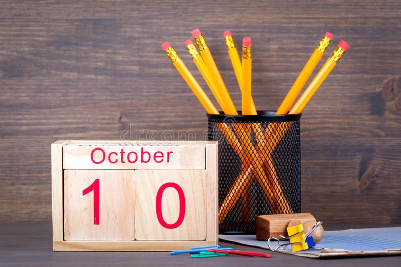 October 10. close-up wooden calendar. Time planning and business background stock photo