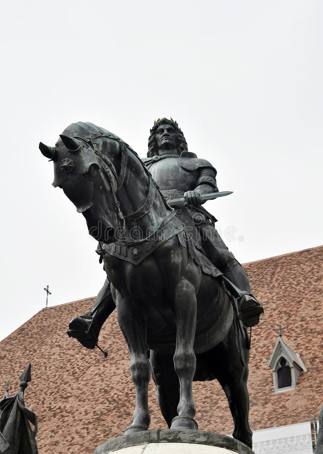 Matthias Corvinus Monument in Cluj Napoca. 30 October 2019, Cluj Napoca, Mures county, Transylvania, Romania royalty free stock images