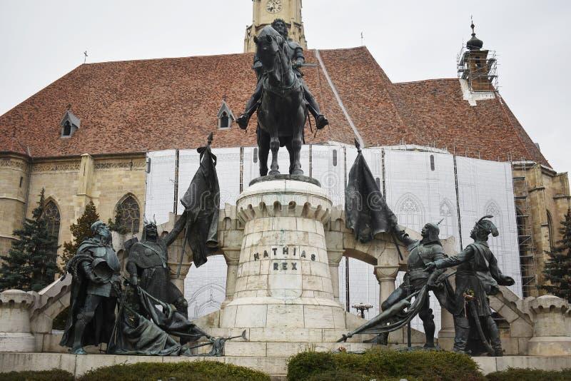 Matthias Corvinus Monument in Cluj Napoca. 30 October 2019, Cluj Napoca, Mures county, Transylvania, Romania stock photo