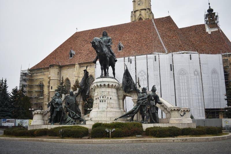 Matthias Corvinus Monument in Cluj Napoca. 30 October 2019, Cluj Napoca, Mures county, Transylvania, Romania royalty free stock photo