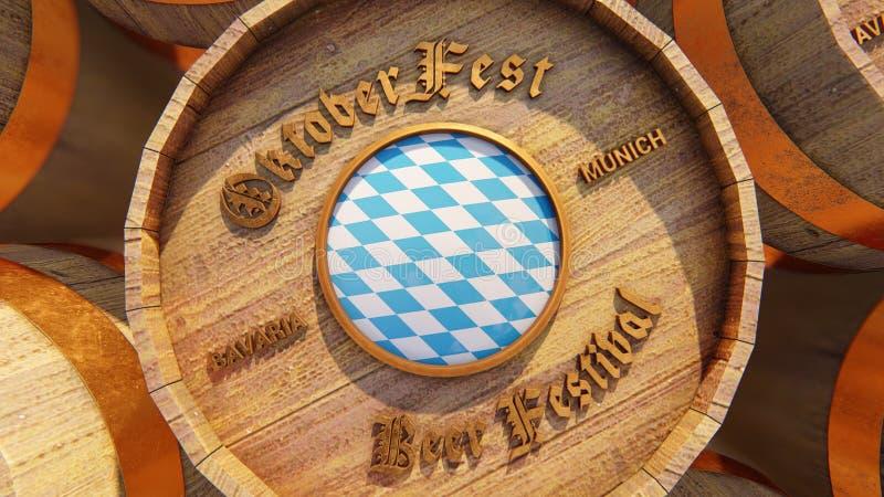 October fest beer barrels with Bavaria flag stock illustration