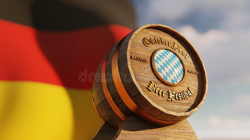 October fest beer barrels with Bavaria and German flag royalty free illustration