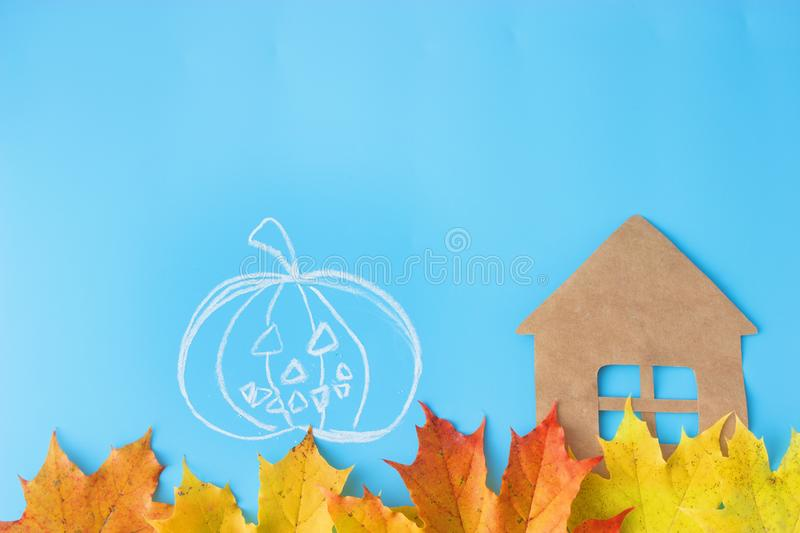 30 october. halloween concept. Pumpkins and autumn leaves stock images