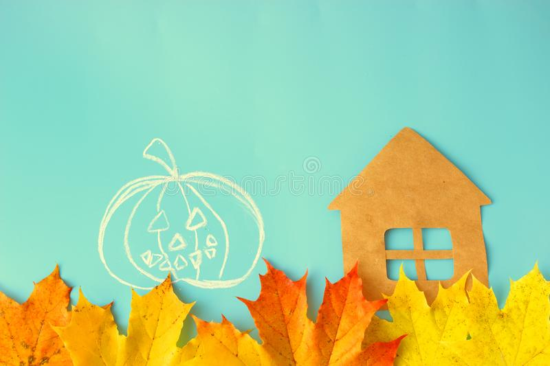 30 october. halloween concept. Pumpkins and autumn leaves royalty free stock photography