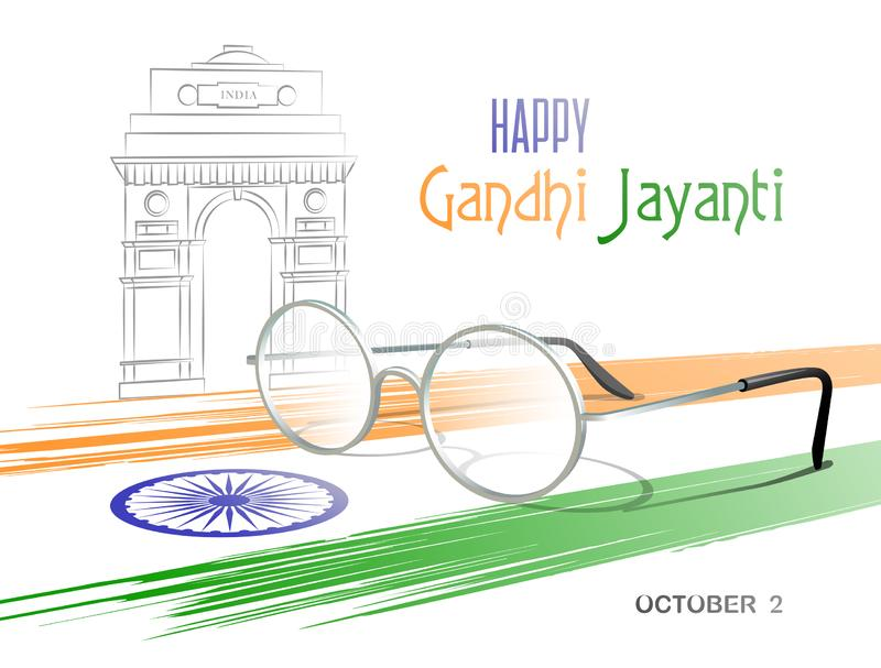 October 2. Happy Gandhi Jayanti. Abstract colors of the Indian flag with Ashoka Chakra, eyeglasses and sketch of the India Gate. vector illustration