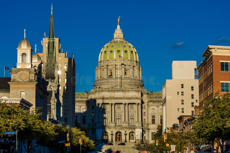 OCTOBER 25, 2016 - HARRISBURG, PENNSYLVANIA, City skyline and State Capitol shot at dusk from Susquehanna River, PA stock photos