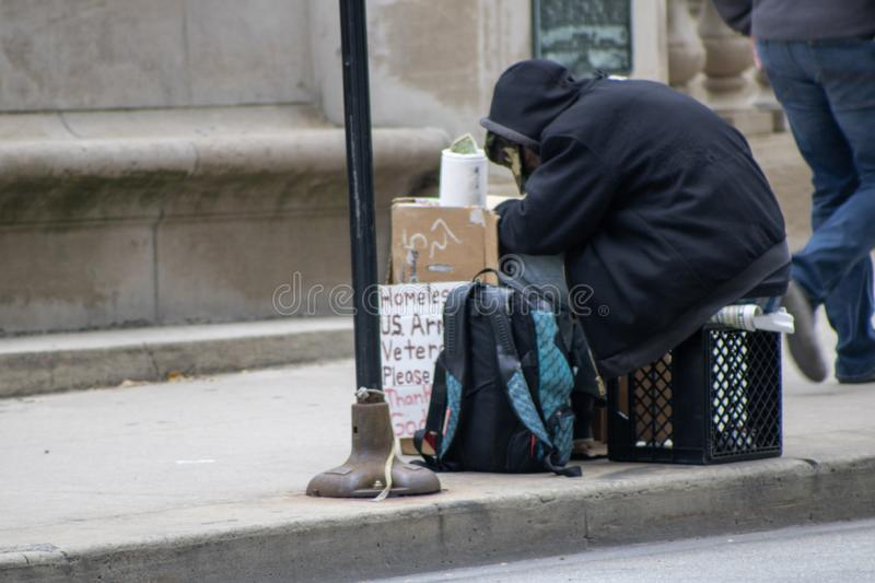 October 28, 2019 Homeless U.S. Army vet stock photography