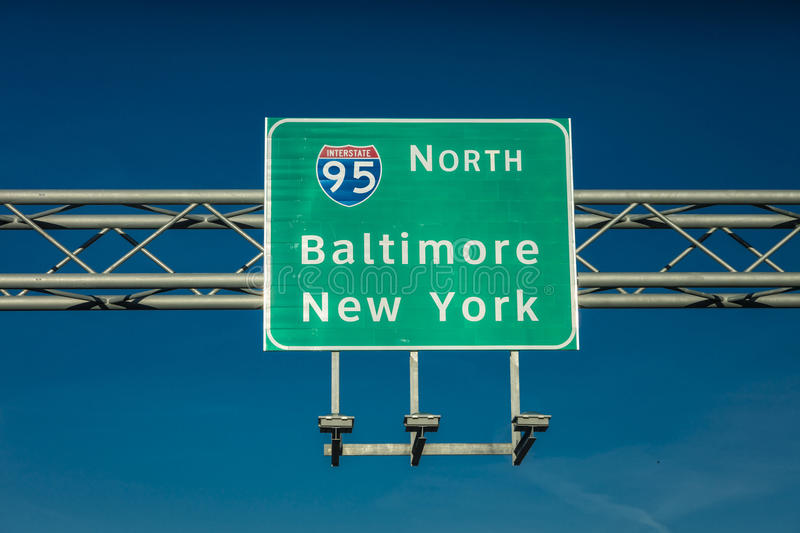 OCTOBER 28, 2016 Interstate 95 road sign directing drivers to New York or Baltimore, MD royalty free stock photo