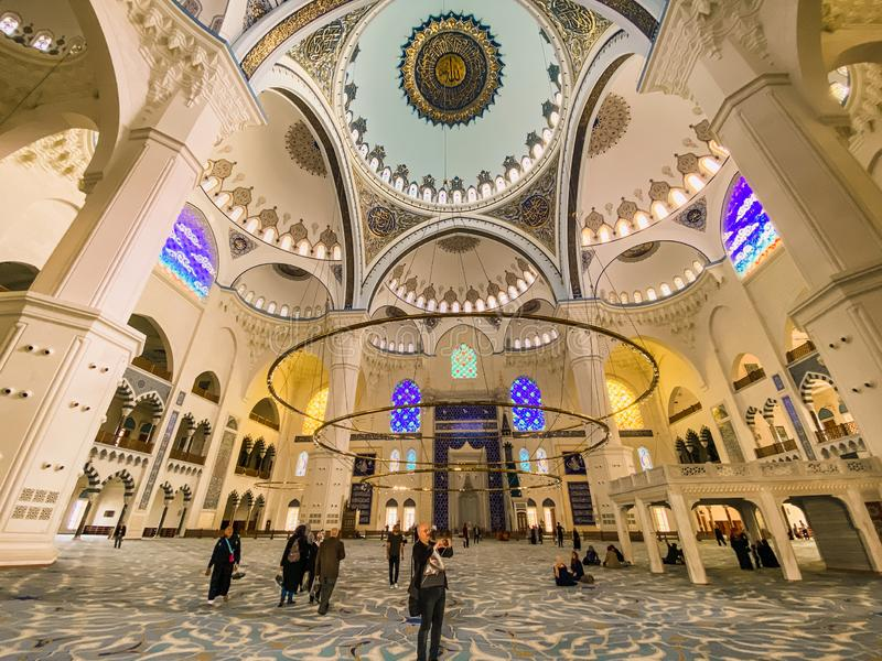 October 30, 2019. Istanbul. View of the dome inside of Istanbul Camlica Mosque. Camlica Mosque Turkish Camlica Camii. Buyuk royalty free stock images