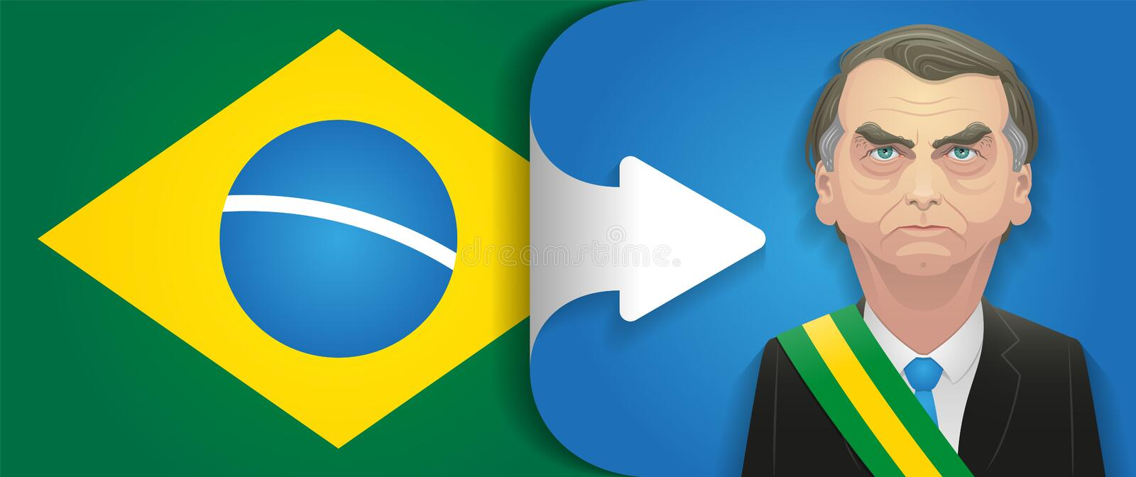 October 18, 2018 - Jair Bolsonaro caricature. Brazil turns right. Detailed vector caricature of right-wing brazilian candidate wih the presidential track