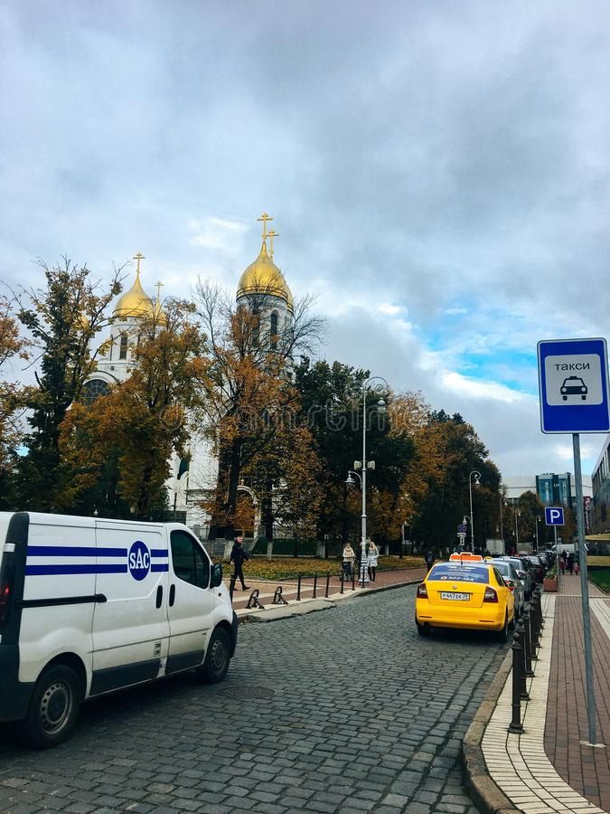 October 20, 2017, Kaliningrad, street, people, cars and buses royalty free stock photography