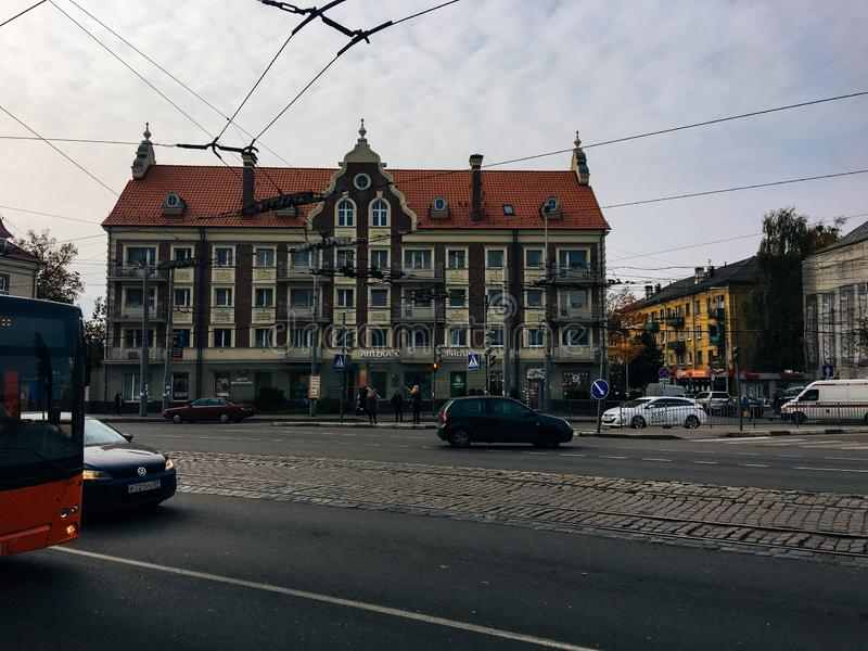 October 20, 2017, Kaliningrad, street, people, cars and buses stock photos