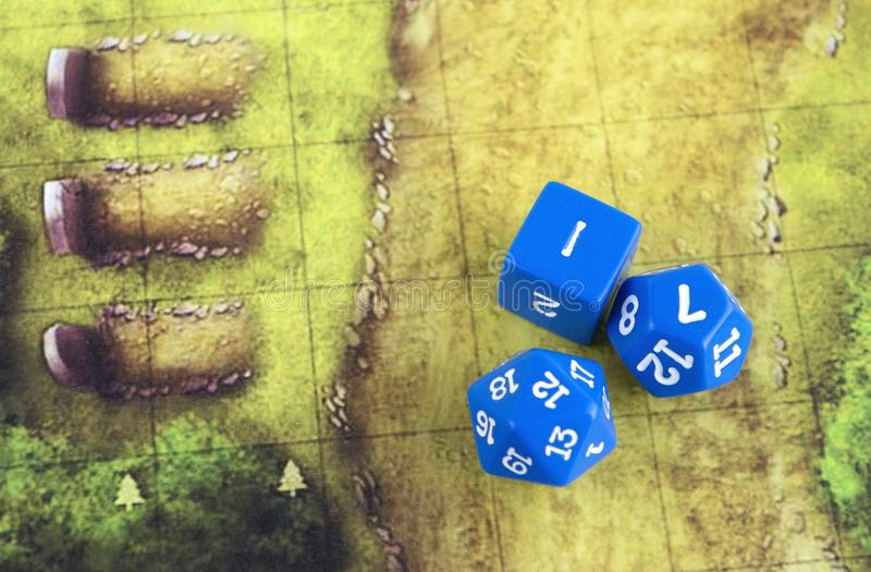 27 October 2017, Krasnodar, Russia: Playing dungeons and dragons, set of blue dices for rpg, tabletop or board games.  royalty free stock images