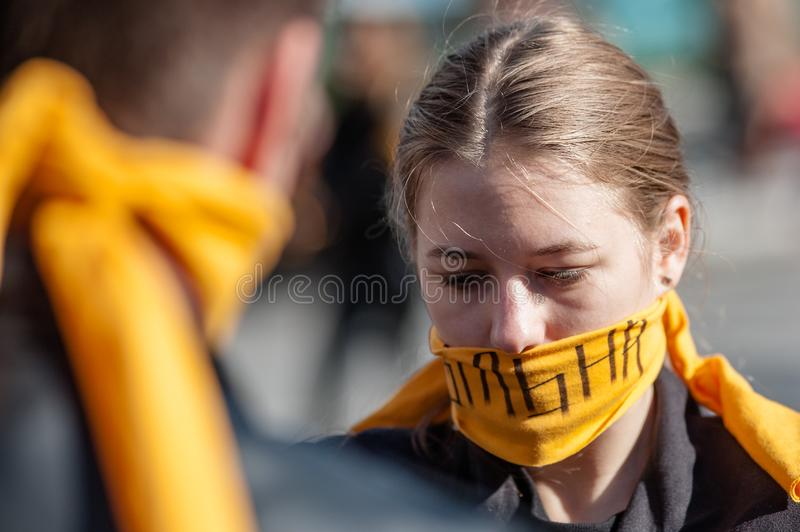 Walk for Freedom annual international event. October 16, 2017. Kyiv, Ukraine. Walk for Freedom annual international event. About a hundred people passed along stock photos