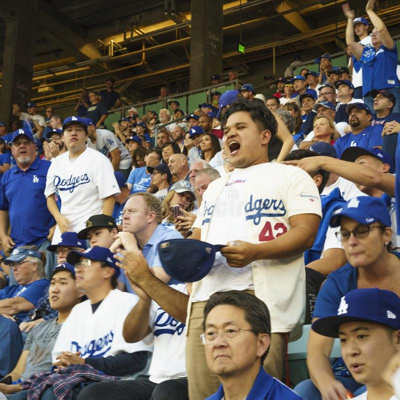 OCTOBER 26, 2018 - LOS ANGELES, CALIFORNIA, USA - DODGER STADIUM: fans celebrate as LA Dodgers defeat Boston Red Sox 3-2 in game 3. The longest game in World stock photo